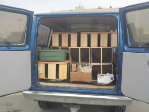 110 packages of bees, 30,000 per package... approximately 3.5 million bees in this van.